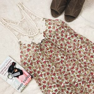 Tops - Floral Loose Sheer Lace Strap Tank Top